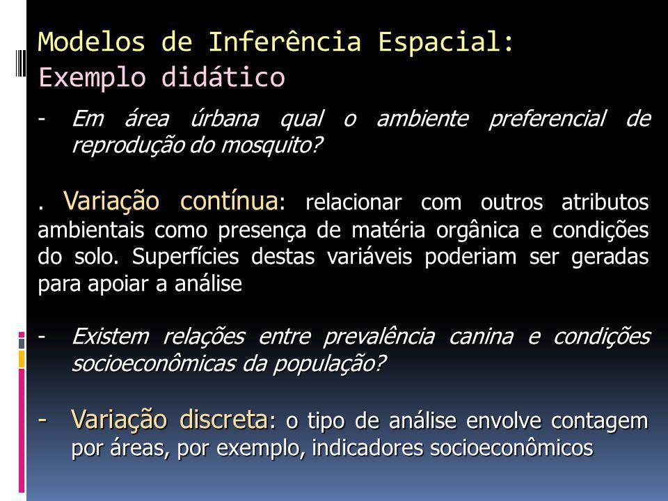 Modelos de Inferência Espacial: Exemplo didático -Em área úrbana qual o ambiente preferencial de reprodução do mosquito?.