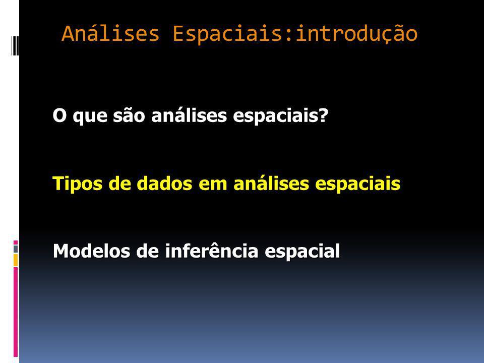 Análises Espaciais:introdução O que são análises espaciais.