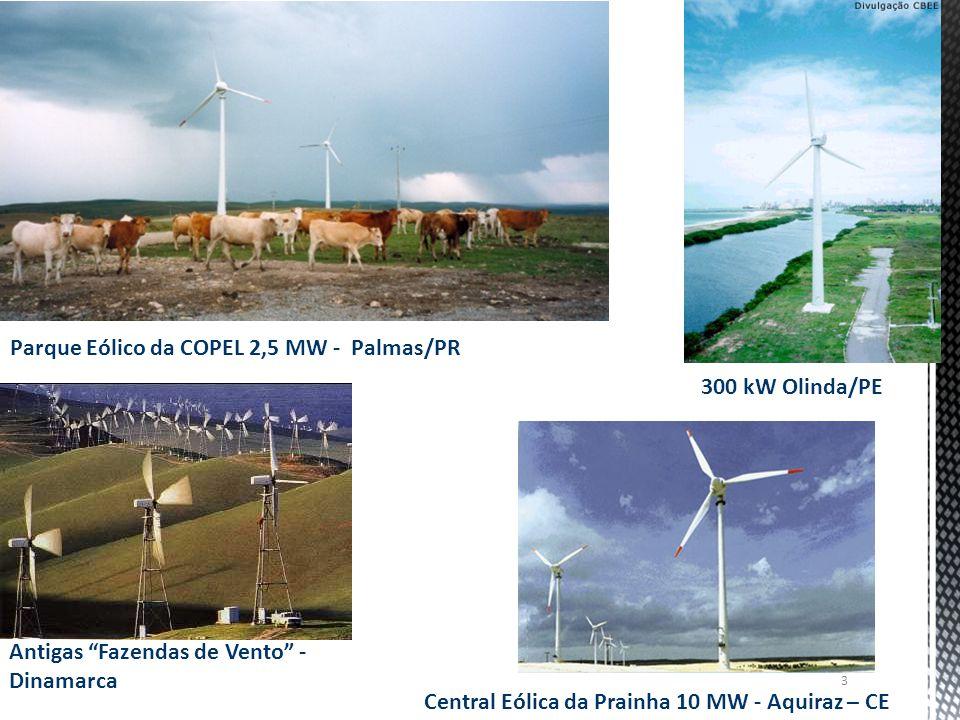 Parque Eólico da COPEL 2,5 MW - Palmas/PR 300 kW Olinda/PE Central Eólica da Prainha 10 MW - Aquiraz – CE Antigas Fazendas de Vento - Dinamarca 3