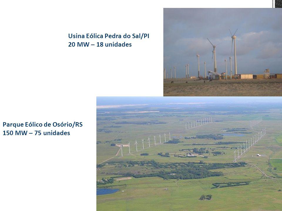 Usina Eólica Pedra do Sal/PI 20 MW – 18 unidades Parque Eólico de Osório/RS 150 MW – 75 unidades 4