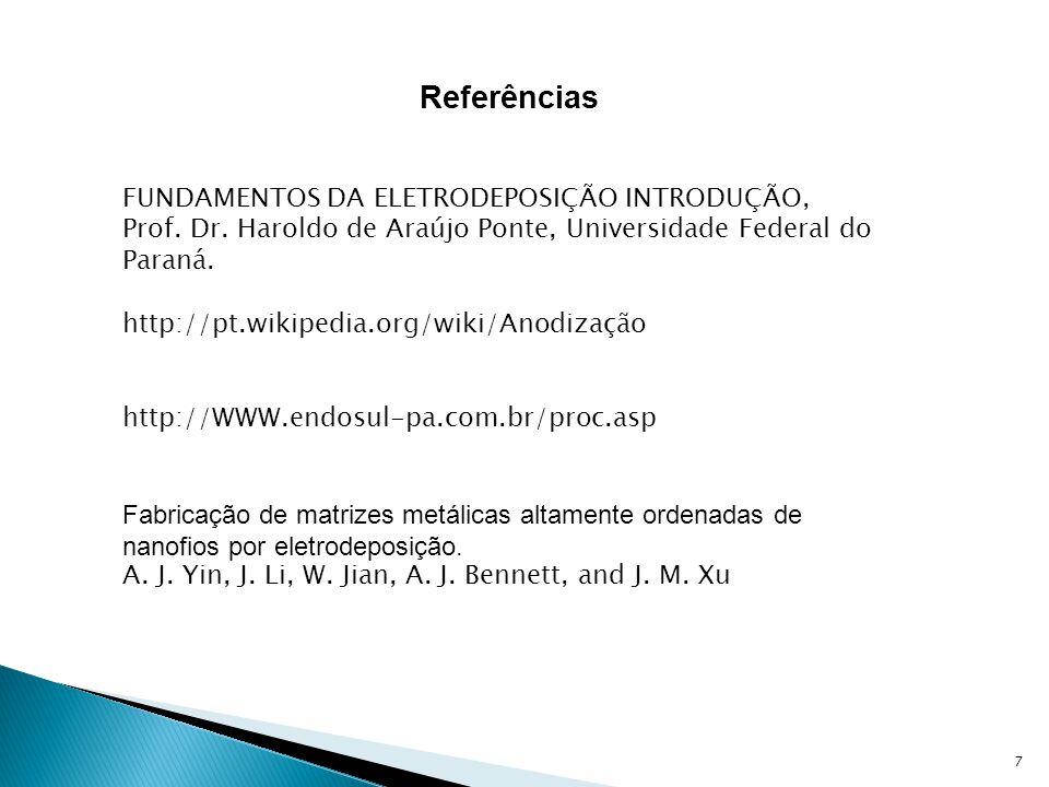 7 Referências FUNDAMENTOS DA ELETRODEPOSIÇÃO INTRODUÇÃO, Prof. Dr. Haroldo de Araújo Ponte, Universidade Federal do Paraná. http://pt.wikipedia.org/wi