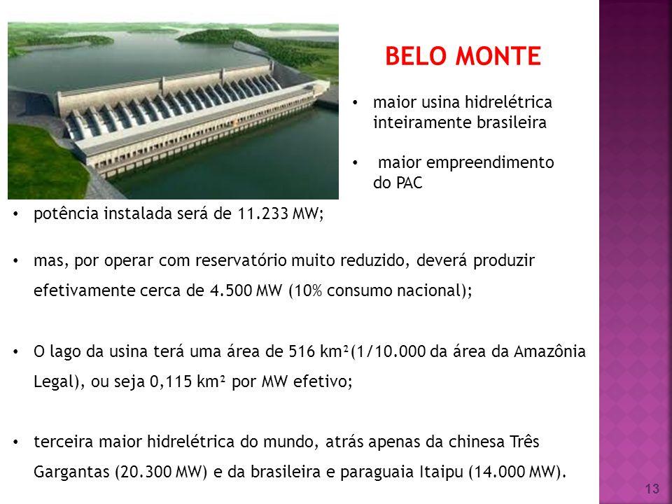 13 potência instalada será de 11.233 MW; mas, por operar com reservatório muito reduzido, deverá produzir efetivamente cerca de 4.500 MW (10% consumo