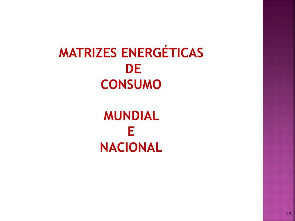 15 MATRIZES ENERGÉTICAS DE CONSUMO MUNDIAL E NACIONAL