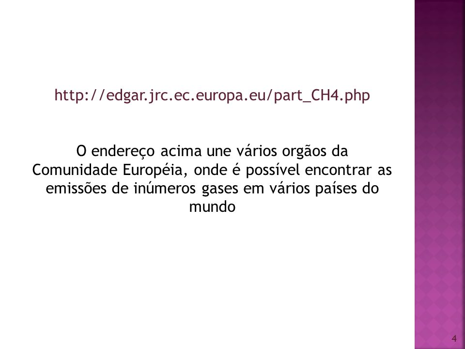 4 http://edgar.jrc.ec.europa.eu/part_CH4.php O endereço acima une vários orgãos da Comunidade Européia, onde é possível encontrar as emissões de inúme