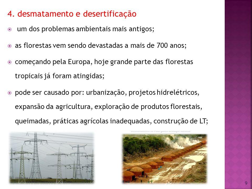 4. desmatamento e desertificação um dos problemas ambientais mais antigos; as florestas vem sendo devastadas a mais de 700 anos; começando pela Europa
