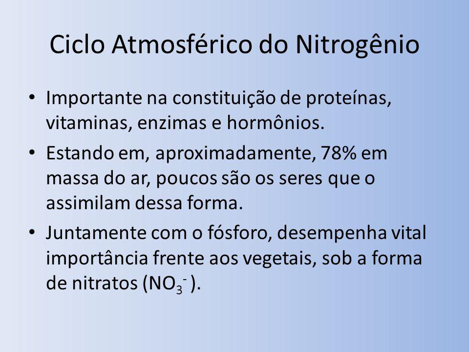 Ciclo Atmosférico do Nitrogênio Importante na constituição de proteínas, vitaminas, enzimas e hormônios. Estando em, aproximadamente, 78% em massa do