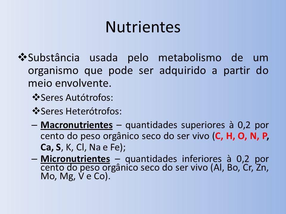 Nutrientes Substância usada pelo metabolismo de um organismo que pode ser adquirido a partir do meio envolvente. Seres Autótrofos: Seres Heterótrofos: