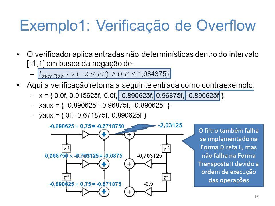 Exemplo1: Verificação de Overflow 16 -0,703125 -0,5 0,75 -0,703125 0,75 -2,03125 + + + O filtro também falha se implementado na Forma Direta II, mas n