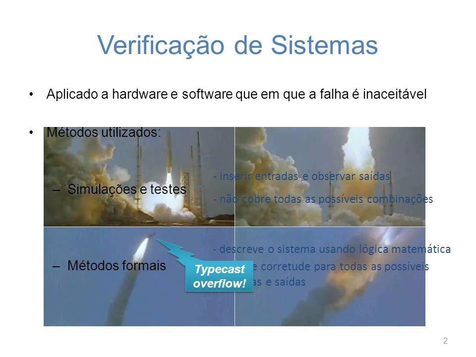 Verificação de Sistemas Aplicado a hardware e software que em que a falha é inaceitável Métodos utilizados: –Simulações e testes –Métodos formais 2 -