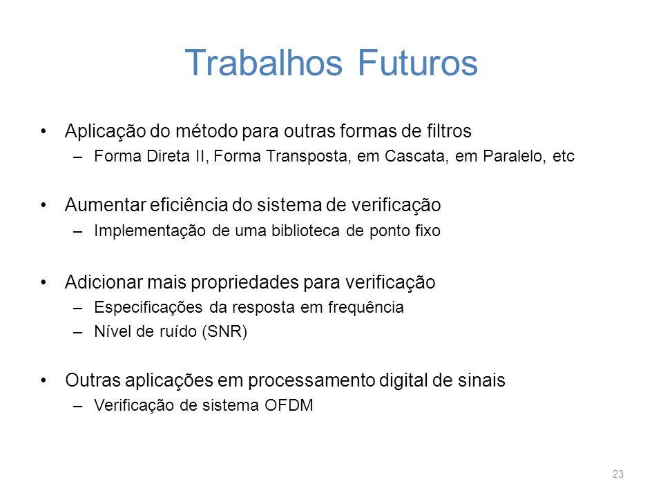 Trabalhos Futuros Aplicação do método para outras formas de filtros –Forma Direta II, Forma Transposta, em Cascata, em Paralelo, etc Aumentar eficiênc
