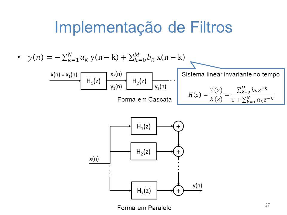 Implementação de Filtros 27 Forma Direta I Forma Direta II Forma Transposta II Forma em Cascata Forma em Paralelo
