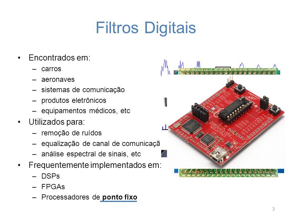 Exemplo1: Verificação de Overflow Filtro IIR com as seguintes especificações –Butterworth corta-faixa de 2ª ordem –Frequências de corte: 7 e 10 kHz –Frequência de amostragem: 48 kHz –Atenuação nas frequências de corte: 3dB 14 -0,703125 -0,5 0,75 -0,703125 0,75 x(n) y(n)