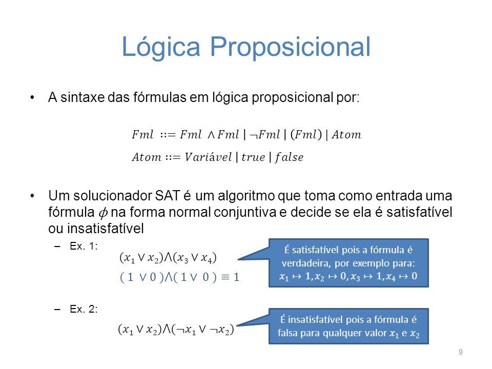Teoria da Satisfatibilidade Um solucionador SMT decide sobre a satisfatibilidade de uma fórmula de primeira ordem usando diferentes teorias de suporte e então generaliza a satisfatibilidade proposicional 10 TeoriaExemplo Igualdade Vetor de bits Aritmetica linear Arrays Teorias combinadas Verificar overflow