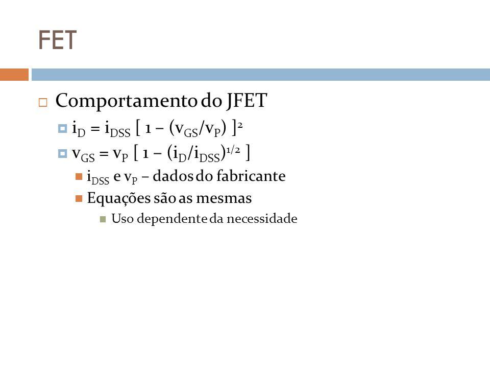 FET Comportamento do JFET i D = i DSS [ 1 – (v GS /v P ) ] 2 v GS = v P [ 1 – (i D /i DSS ) 1/2 ] i DSS e v P – dados do fabricante Equações são as me