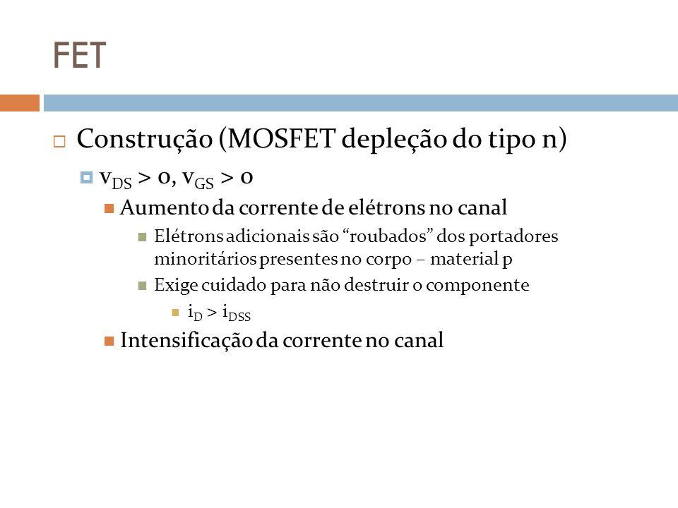 FET Construção (MOSFET depleção do tipo n) v DS > 0, v GS > 0 Aumento da corrente de elétrons no canal Elétrons adicionais são roubados dos portadores