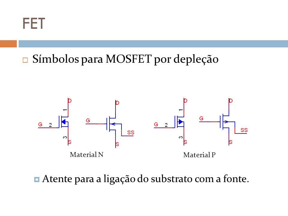 FET Símbolos para MOSFET por depleção Atente para a ligação do substrato com a fonte. Material N Material P