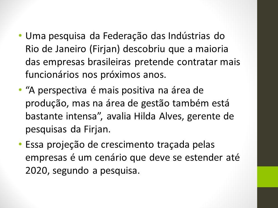 Uma pesquisa da Federação das Indústrias do Rio de Janeiro (Firjan) descobriu que a maioria das empresas brasileiras pretende contratar mais funcionár