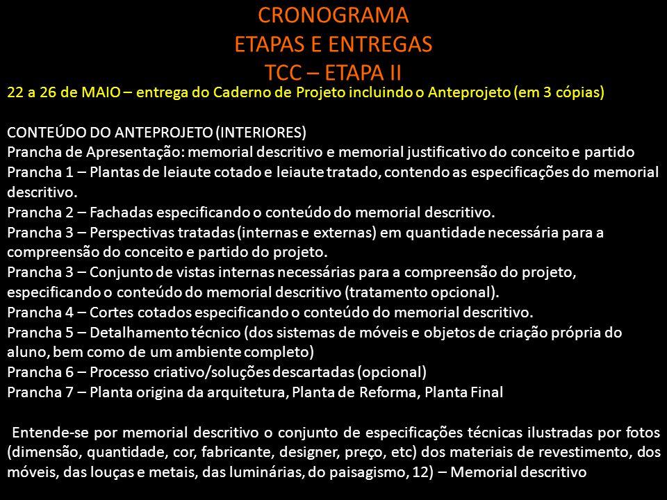 CRONOGRAMA ETAPAS E ENTREGAS TCC – ETAPA II Prancha de Apresentação: memorial descritivo e memorial justificativo do conceito e partido Prancha 1 – Pl