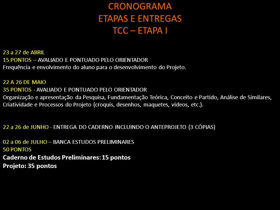 CRONOGRAMA ETAPAS E ENTREGAS TCC – ETAPA I 23 a 27 de ABRIL 15 PONTOS – AVALIADO E PONTUADO PELO ORIENTADOR Frequência e envolvimento do aluno para o