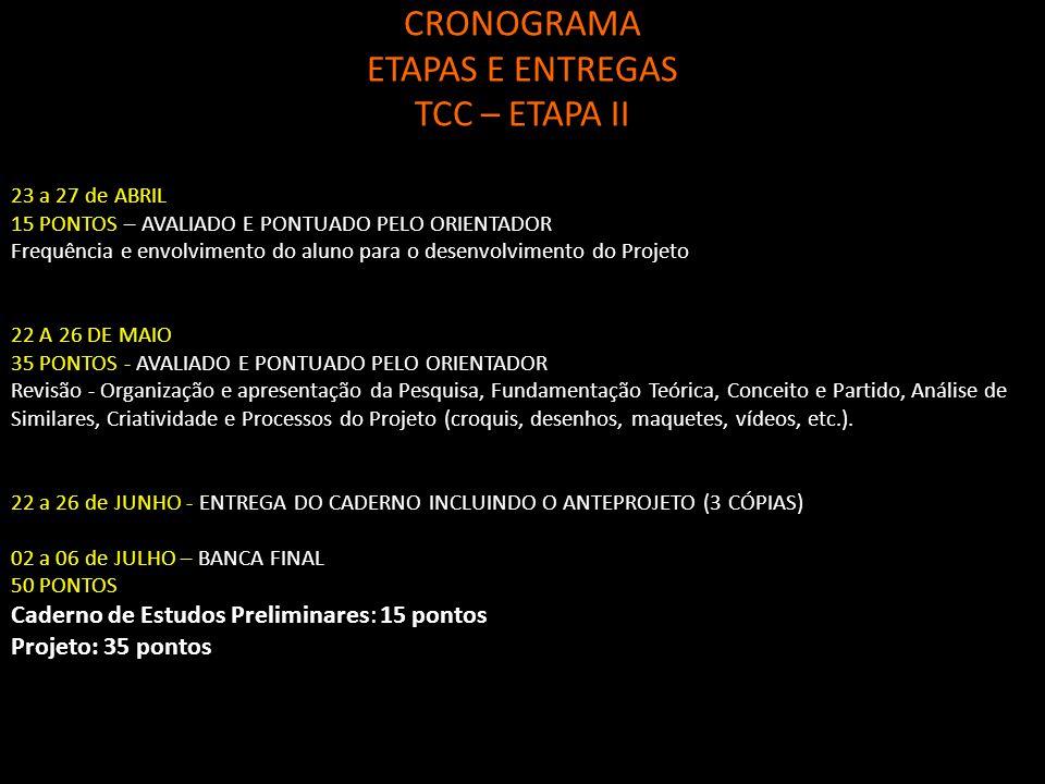 CRONOGRAMA ETAPAS E ENTREGAS TCC – ETAPA II 23 a 27 de ABRIL 15 PONTOS – AVALIADO E PONTUADO PELO ORIENTADOR Frequência e envolvimento do aluno para o