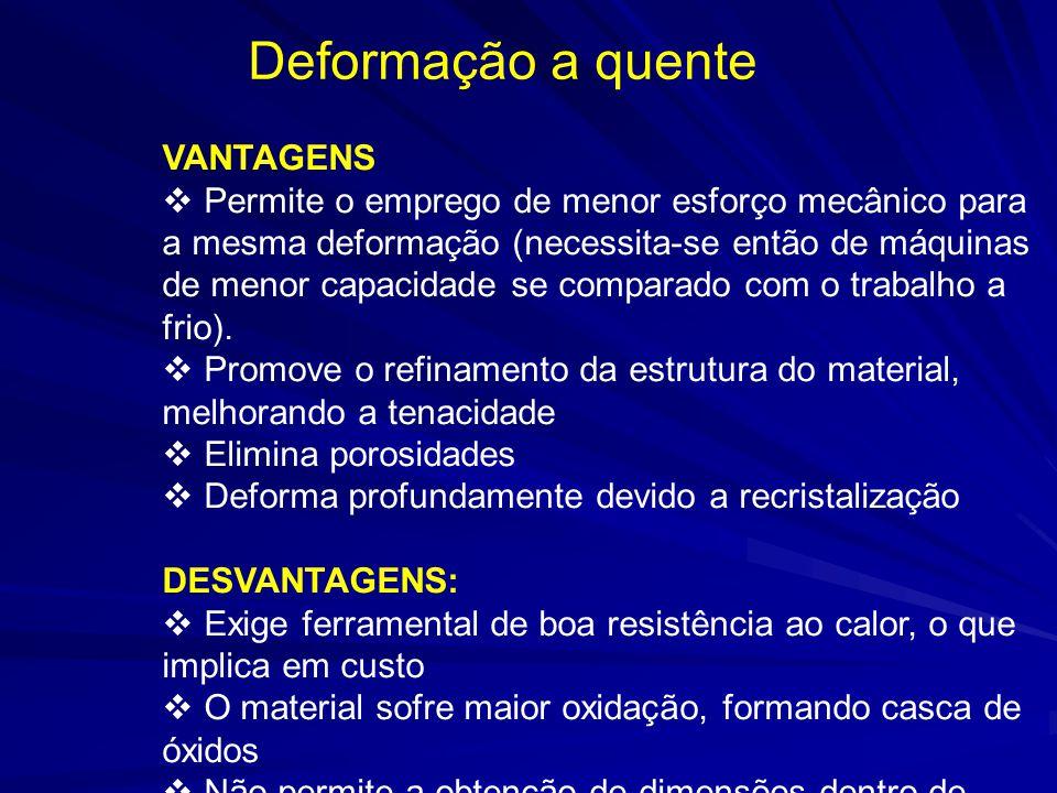 Deformação a quente VANTAGENS Permite o emprego de menor esforço mecânico para a mesma deformação (necessita-se então de máquinas de menor capacidade