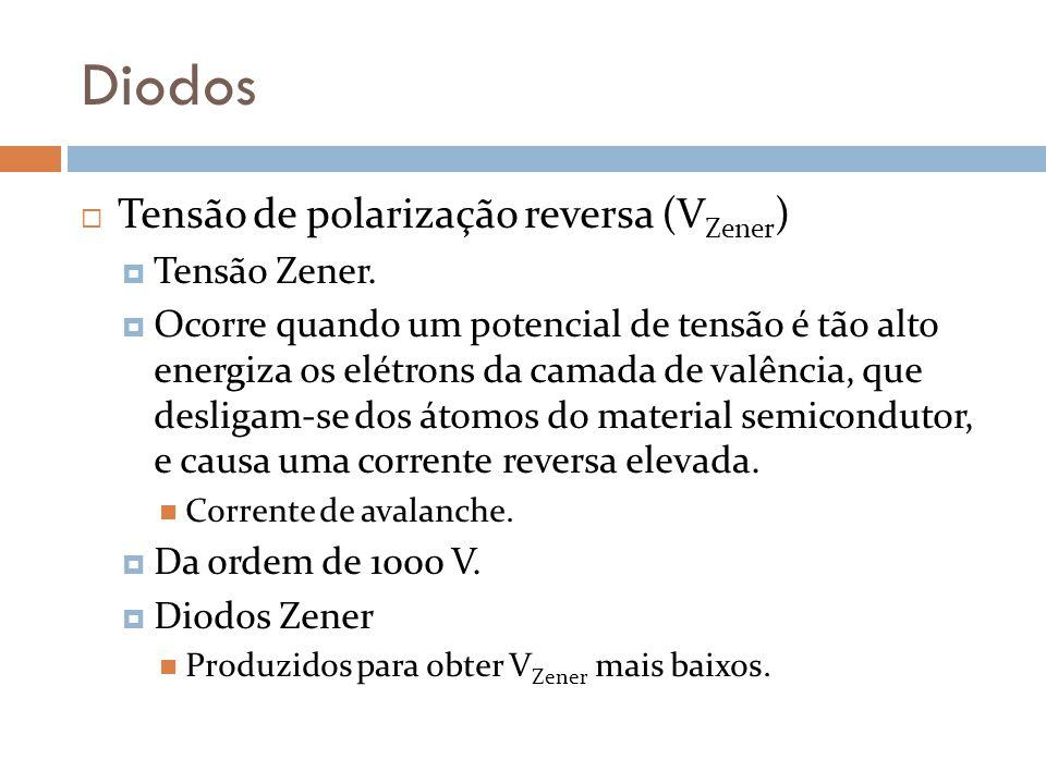 Diodos Tensão de polarização reversa (V Zener ) Tensão Zener. Ocorre quando um potencial de tensão é tão alto energiza os elétrons da camada de valênc