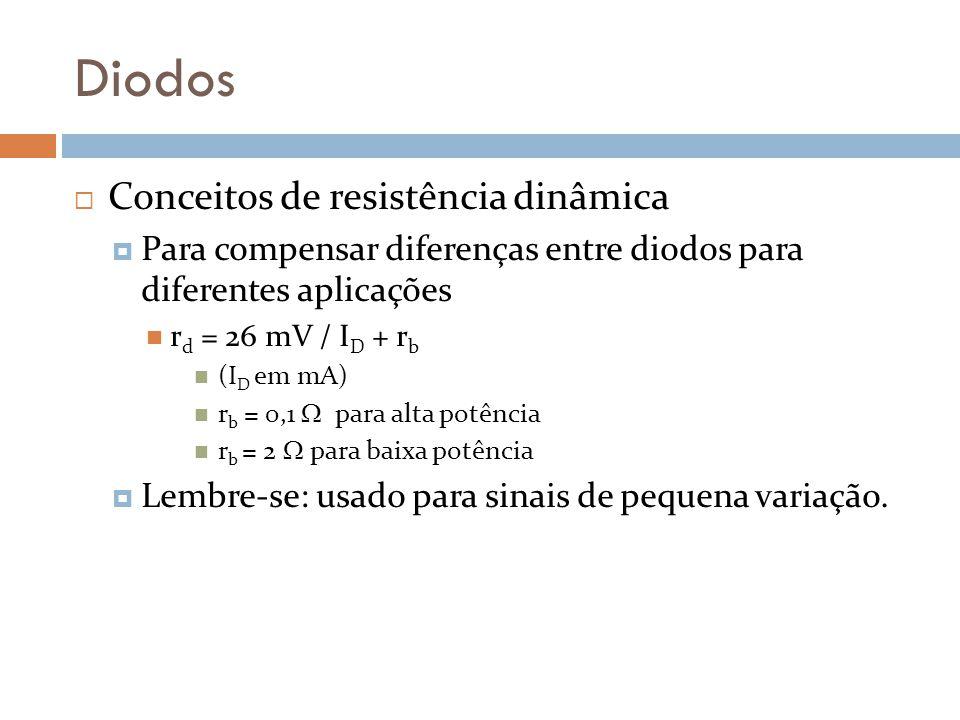 Diodos Conceitos de resistência dinâmica Para compensar diferenças entre diodos para diferentes aplicações r d = 26 mV / I D + r b (I D em mA) r b = 0,1 para alta potência r b = 2 para baixa potência Lembre-se: usado para sinais de pequena variação.