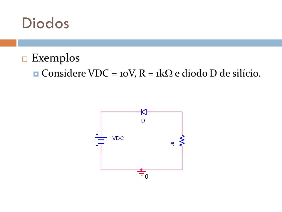 Diodos Exemplos Considere VDC = 10V, R = 1k e diodo D de silício.