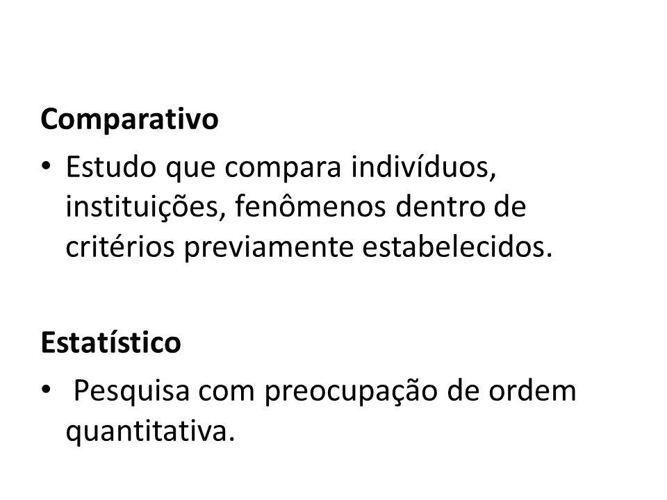 Comparativo Estudo que compara indivíduos, instituições, fenômenos dentro de critérios previamente estabelecidos. Estatístico Pesquisa com preocupação