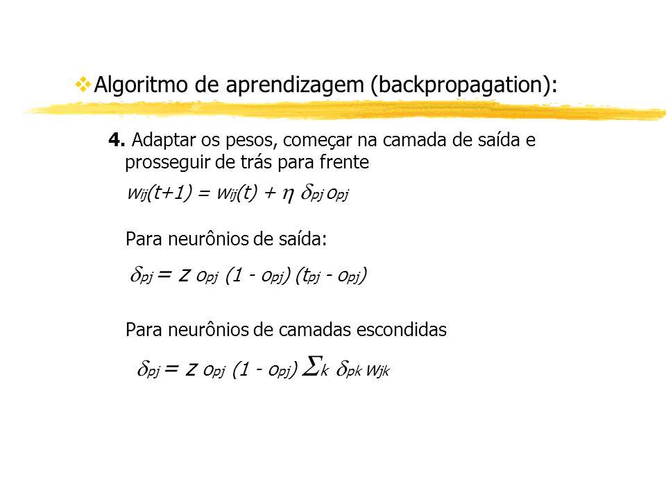 vAlgoritmo de aprendizagem (backpropagation): 4. Adaptar os pesos, começar na camada de saída e prosseguir de trás para frente w ij (t+1) = w ij (t) +