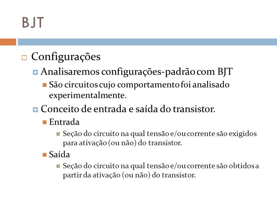 BJT Configurações Analisaremos configurações-padrão com BJT São circuitos cujo comportamento foi analisado experimentalmente.