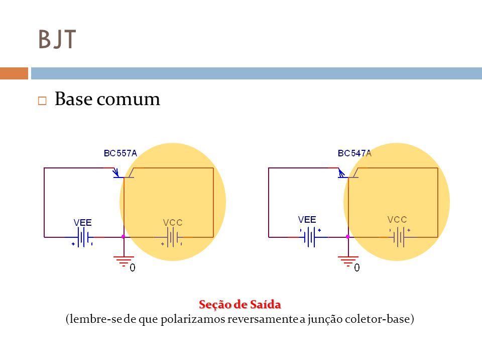 BJT Base comum Seção de Saída (lembre-se de que polarizamos reversamente a junção coletor-base)