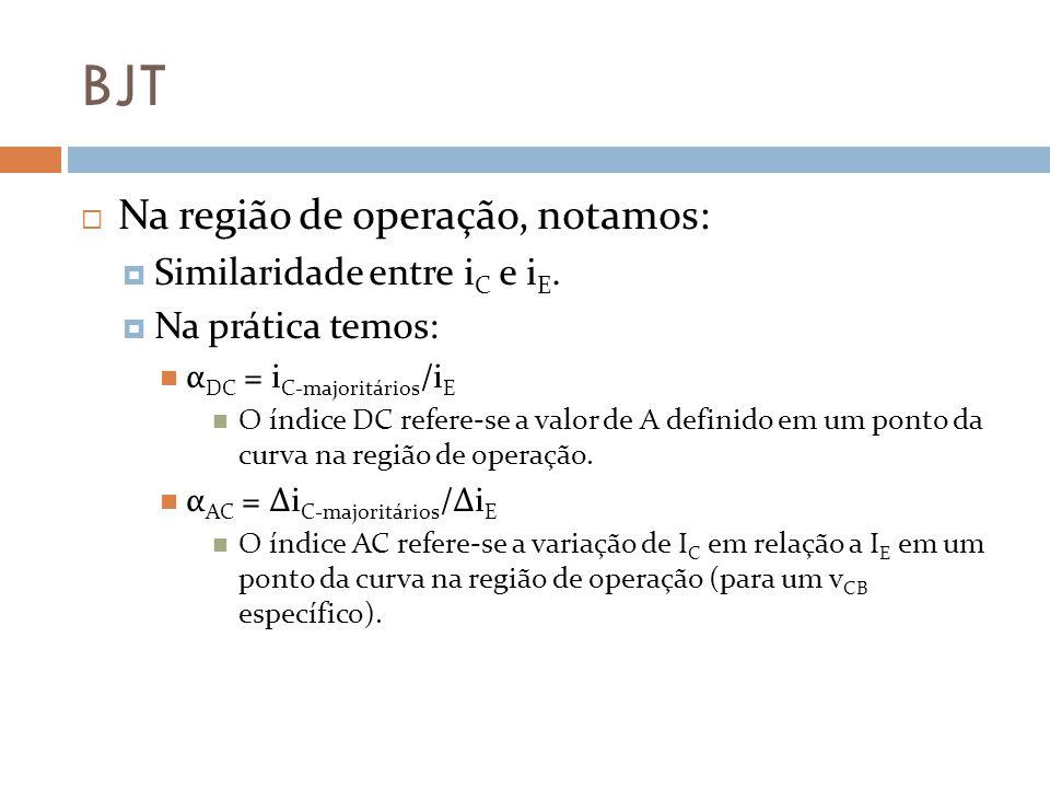 BJT Na região de operação, notamos: Similaridade entre i C e i E.