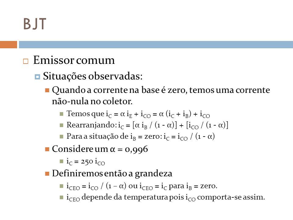 BJT Emissor comum Situações observadas: Quando a corrente na base é zero, temos uma corrente não-nula no coletor.
