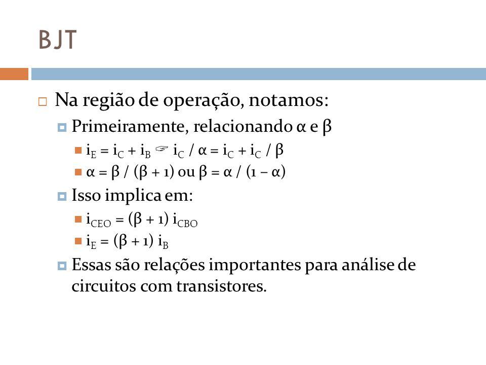 BJT Na região de operação, notamos: Primeiramente, relacionando α e β i E = i C + i B i C / α = i C + i C / β α = β / (β + 1) ou β = α / (1 – α) Isso implica em: i CEO = (β + 1) i CBO i E = (β + 1) i B Essas são relações importantes para análise de circuitos com transistores.
