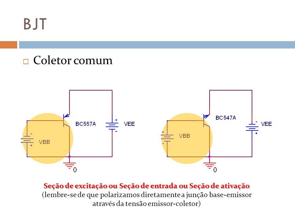BJT Coletor comum Seção de excitação ou Seção de entrada ou Seção de ativação (lembre-se de que polarizamos diretamente a junção base-emissor através da tensão emissor-coletor)