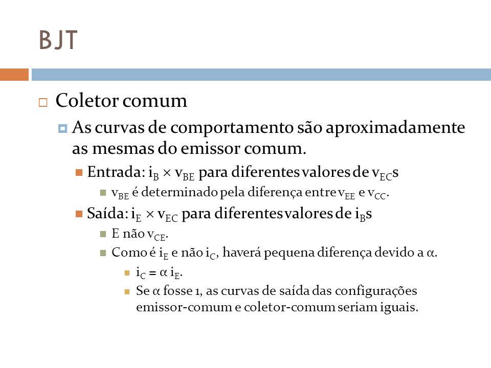 BJT Coletor comum As curvas de comportamento são aproximadamente as mesmas do emissor comum.