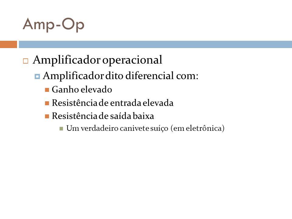 Amp-Op Amplificador operacional Amplificador dito diferencial com: Ganho elevado Resistência de entrada elevada Resistência de saída baixa Um verdadei