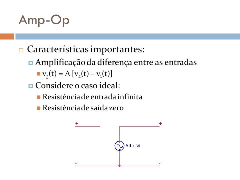 Amp-Op Características importantes: Amplificação da diferença entre as entradas v 3 (t) = A [v 2 (t) – v 1 (t)] Considere o caso ideal: Resistência de