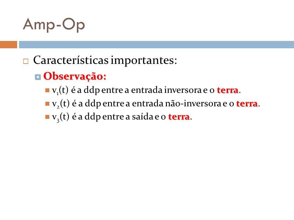 Amp-Op Características importantes: Observação: Observação: terra v 1 (t) é a ddp entre a entrada inversora e o terra. terra v 2 (t) é a ddp entre a e