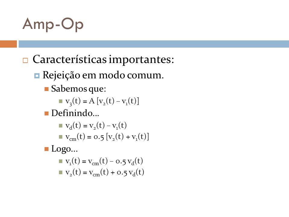 Amp-Op Características importantes: Rejeição em modo comum. Sabemos que: v 3 (t) = A [v 2 (t) – v 1 (t)] Definindo... v d (t) = v 2 (t) – v 1 (t) v cm