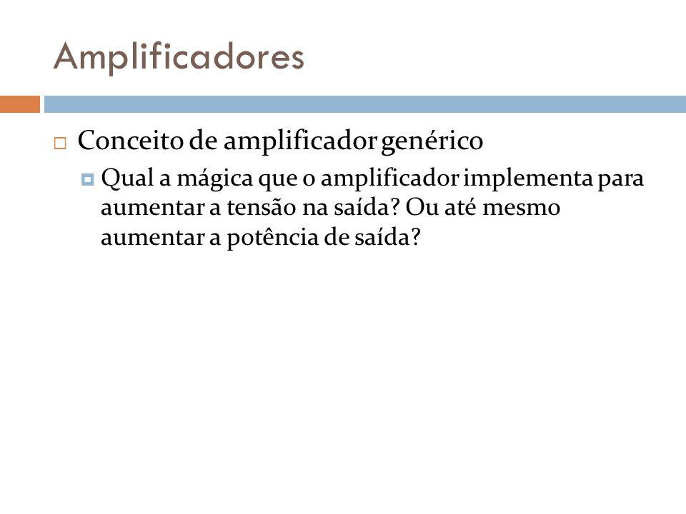 Amplificadores Conceito de amplificador genérico O amplificador é alimentado por fontes externas, para prover a amplificação Duas fontes, simétricas (+V e –V) geram a energia necessária para a amplificação/operação.