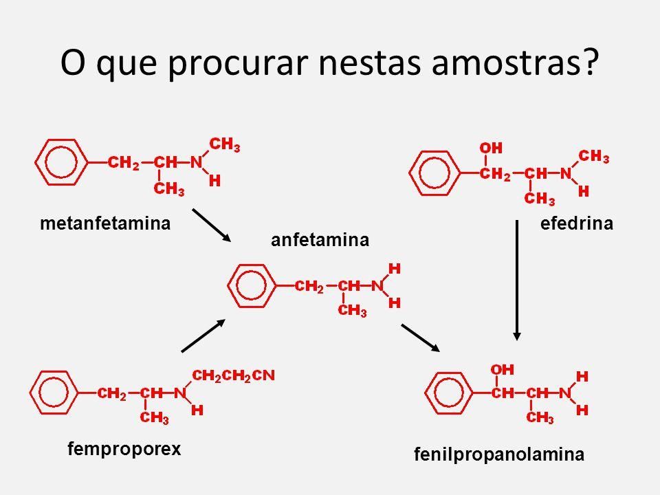 O que procurar nestas amostras? metanfetamina efedrina fenilpropanolamina anfetamina femproporex