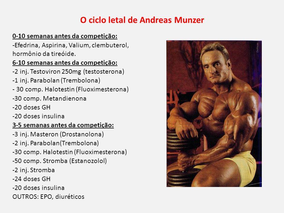 O ciclo letal de Andreas Munzer 0-10 semanas antes da competição: -Efedrina, Aspirina, Valium, clembuterol, hormônio da tireóide.