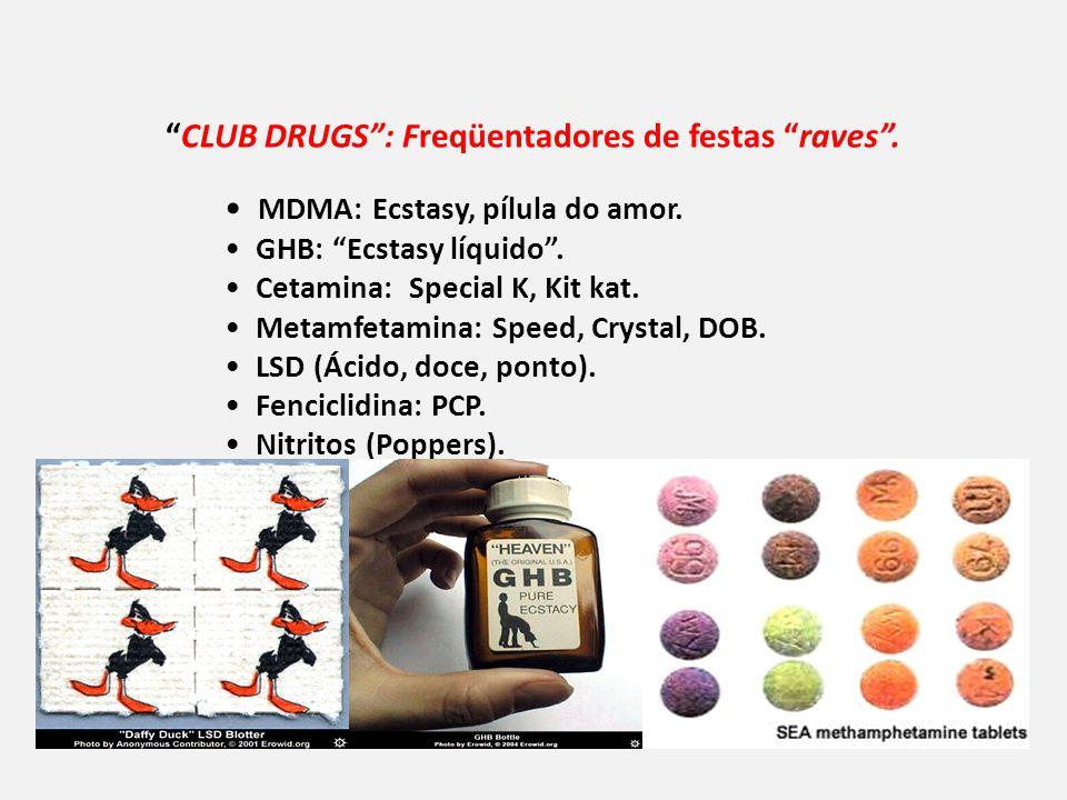 CLUB DRUGS: Freqüentadores de festas raves.MDMA: Ecstasy, pílula do amor.