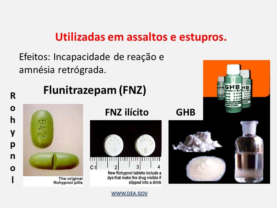 GHB Flunitrazepam (FNZ) RohypnolRohypnol FNZ ilícito Utilizadas em assaltos e estupros.