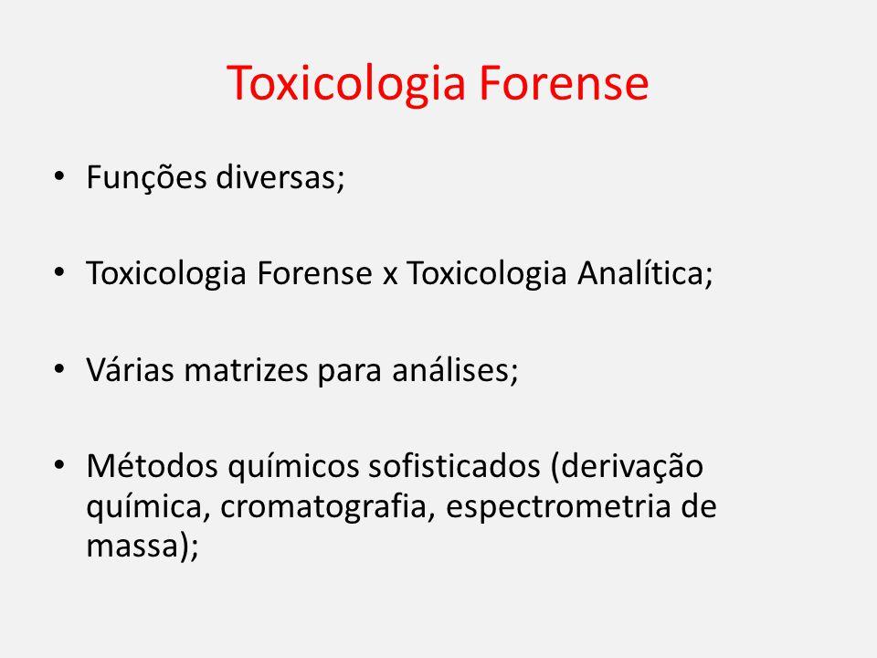 Toxicologia Forense Funções diversas; Toxicologia Forense x Toxicologia Analítica; Várias matrizes para análises; Métodos químicos sofisticados (derivação química, cromatografia, espectrometria de massa);