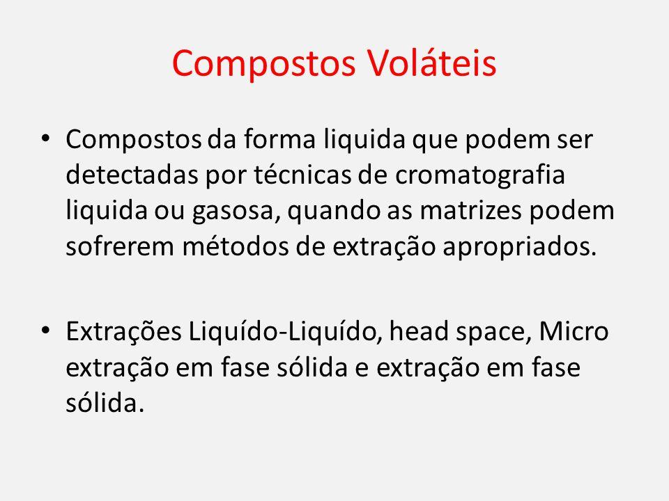 Compostos Voláteis Compostos da forma liquida que podem ser detectadas por técnicas de cromatografia liquida ou gasosa, quando as matrizes podem sofrerem métodos de extração apropriados.