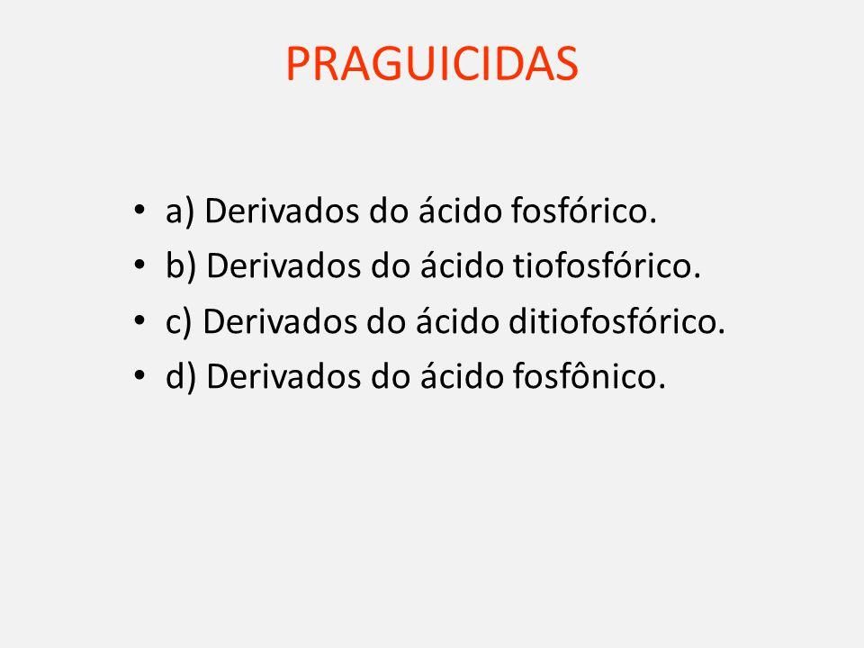 PRAGUICIDAS a) Derivados do ácido fosfórico.b) Derivados do ácido tiofosfórico.