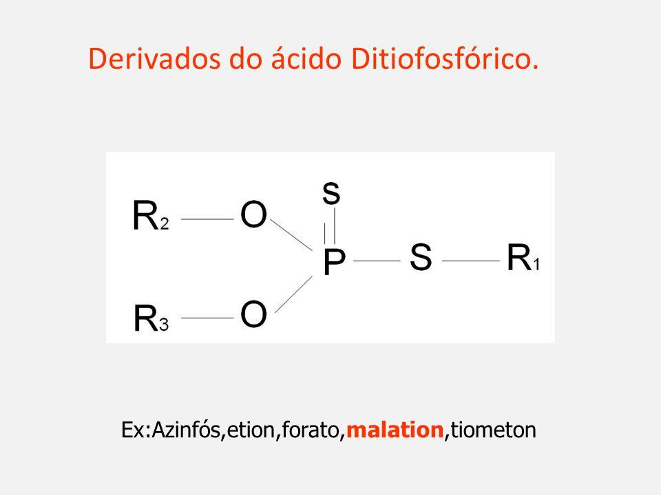 Derivados do ácido Ditiofosfórico. Ex:Azinfós,etion,forato,malation,tiometon